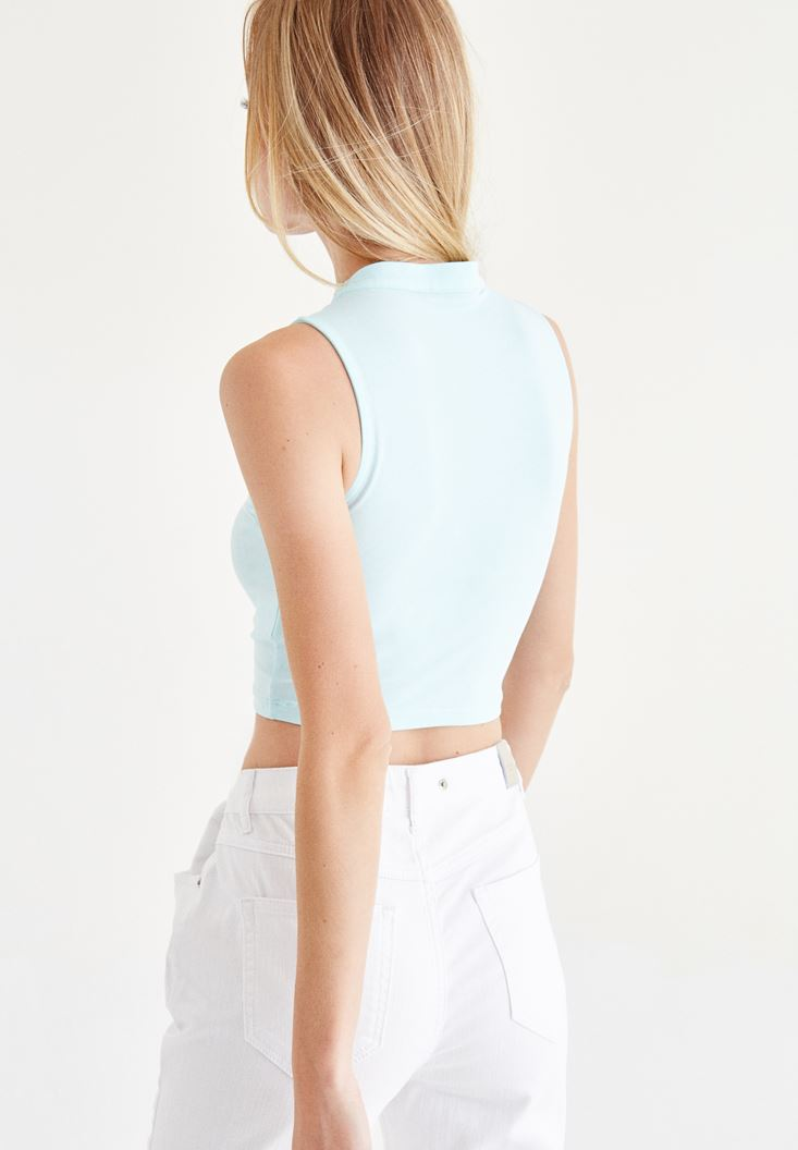Bayan Mavi Choker Detaylı Yarım Bluz
