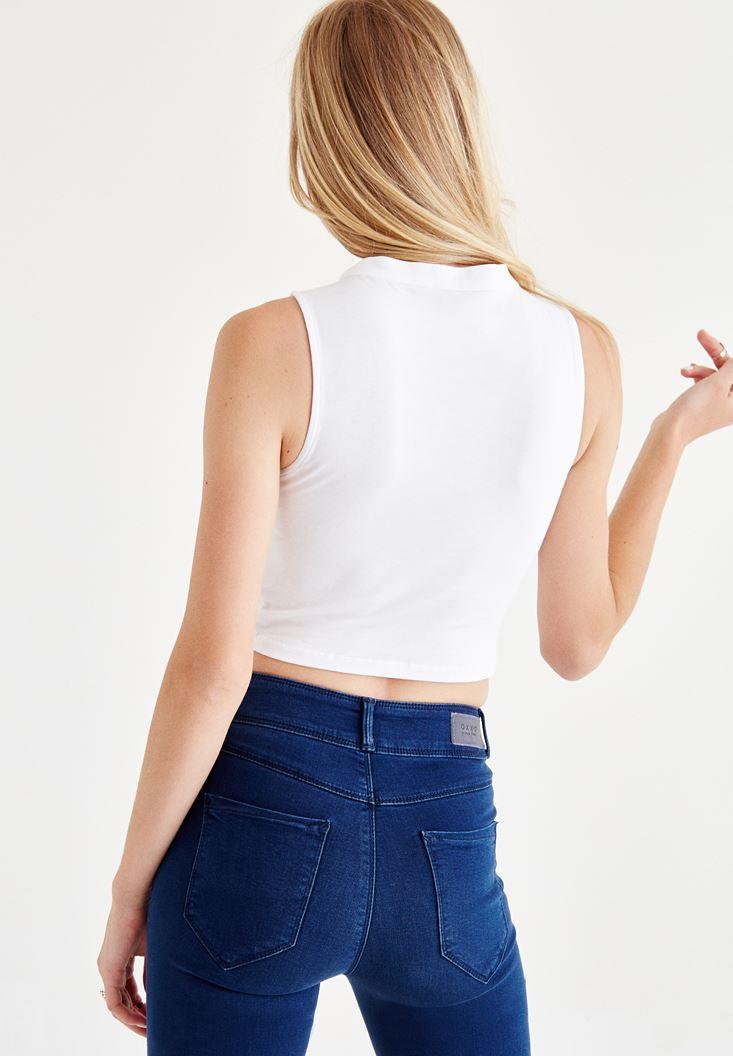 Bayan Beyaz Choker Detaylı Yarım Bluz