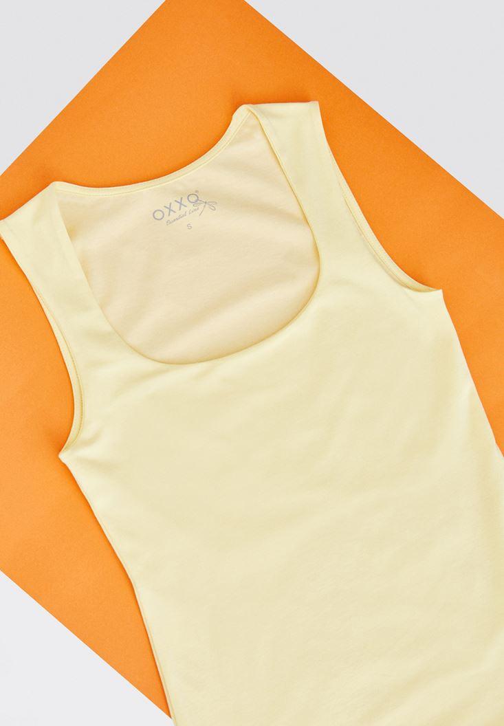 Sarı Kare Yaka Basic Atlet