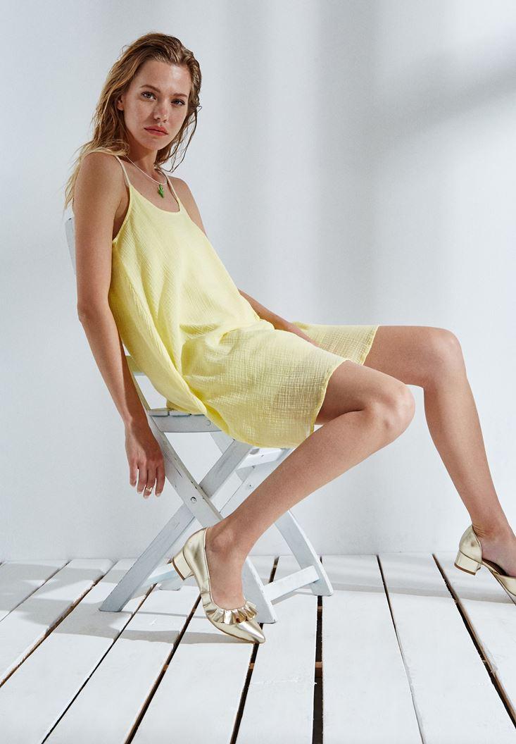 Sarı Askılı Mini Elbise