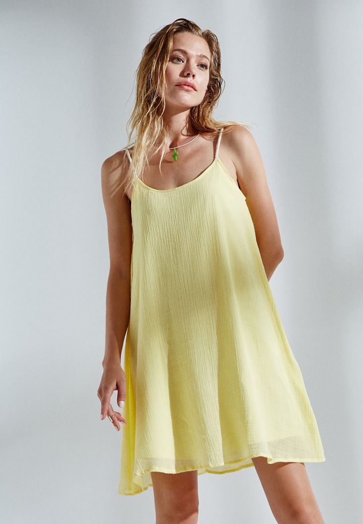 Bayan Sarı Askılı Mini Elbise