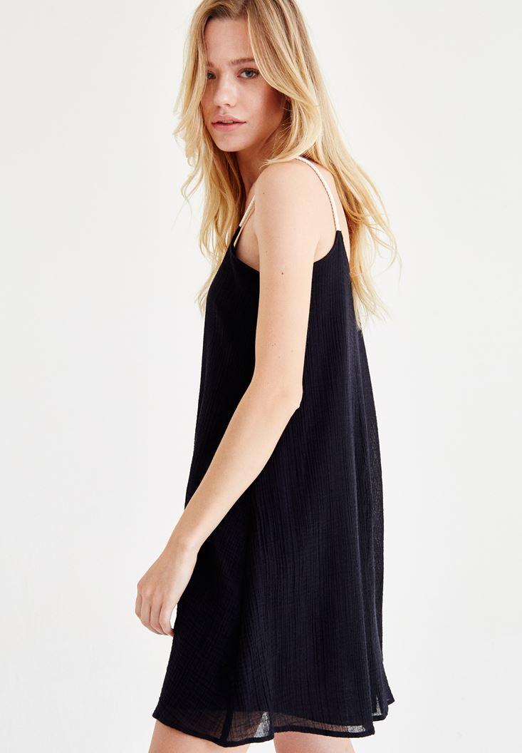 Bayan Siyah Askılı Mini Elbise