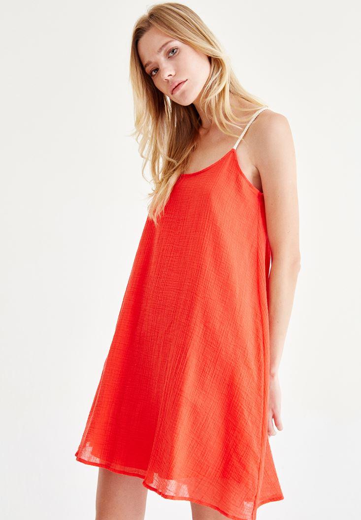 Kırmızı Askılı Mini Elbise