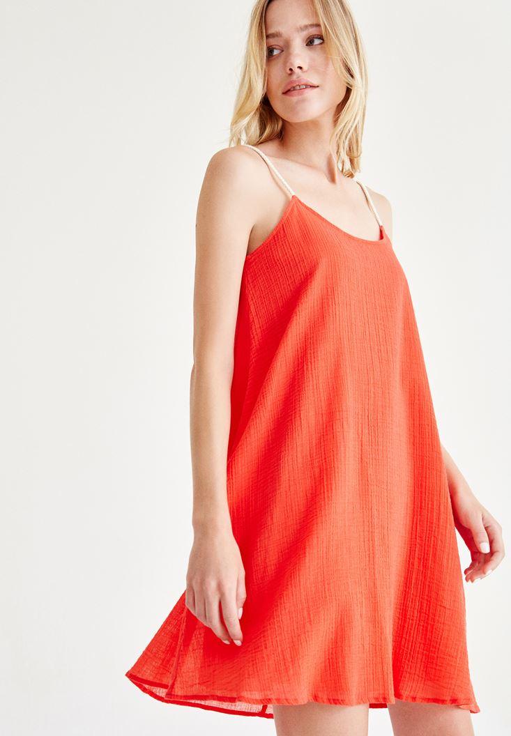 Bayan Kırmızı Askılı Mini Elbise