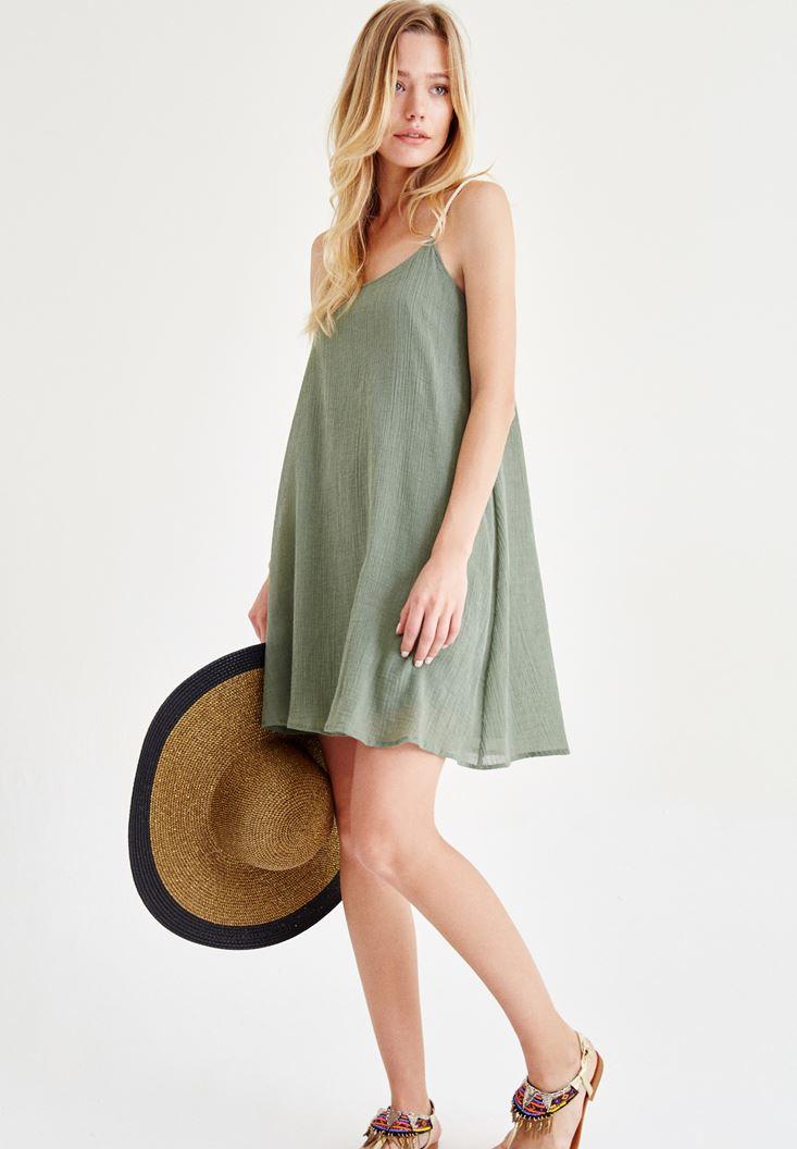 Bayan Yeşil Askılı Mini Elbise