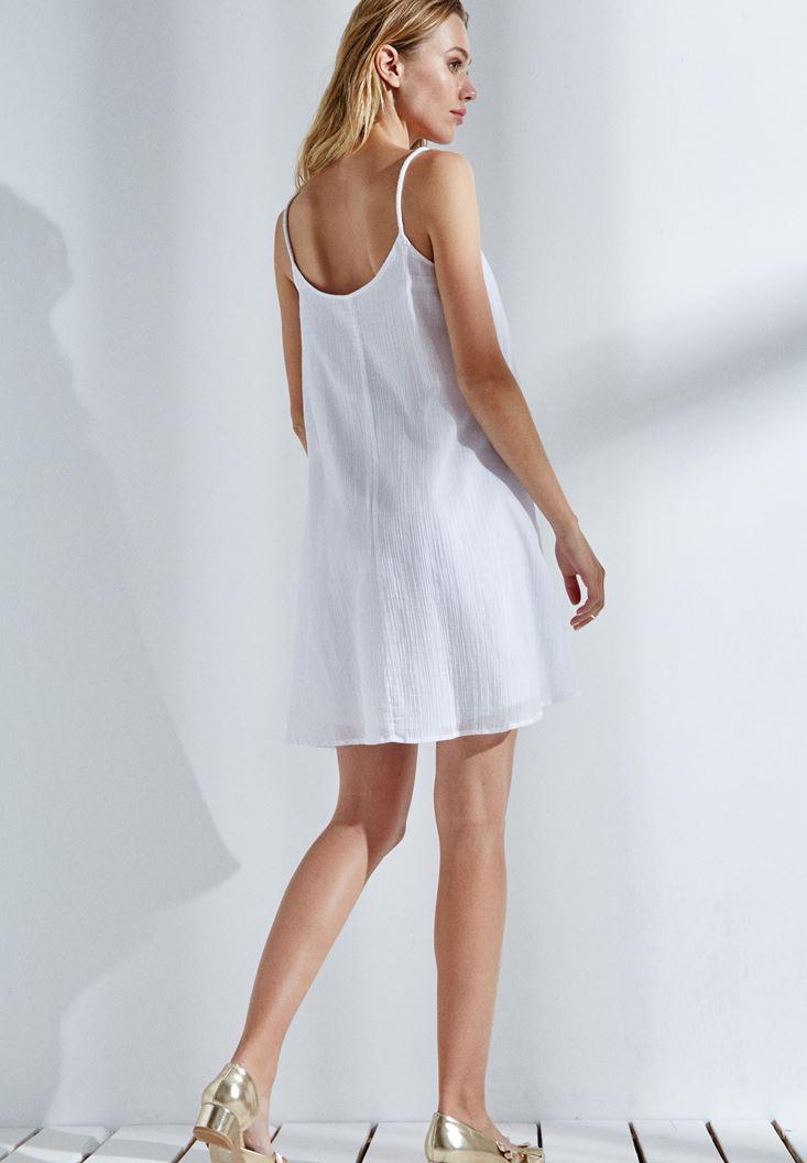 Bayan Beyaz Askılı Mini Elbise