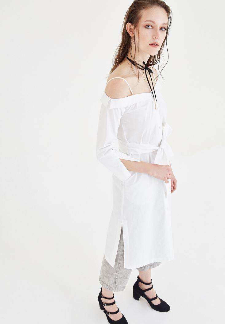 Beyaz Kayık Yaka Elbise