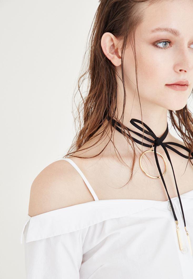 Bayan Beyaz Kayık Yaka Elbise