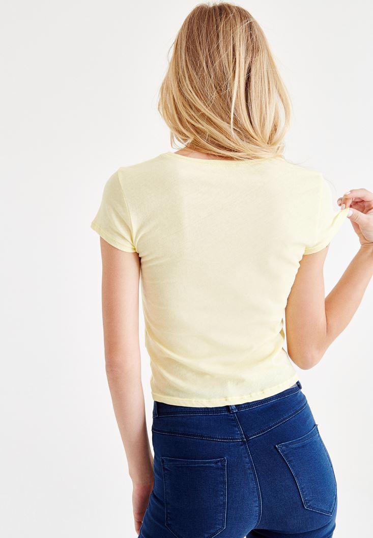 Bayan Sarı Bağlamalı Tişört