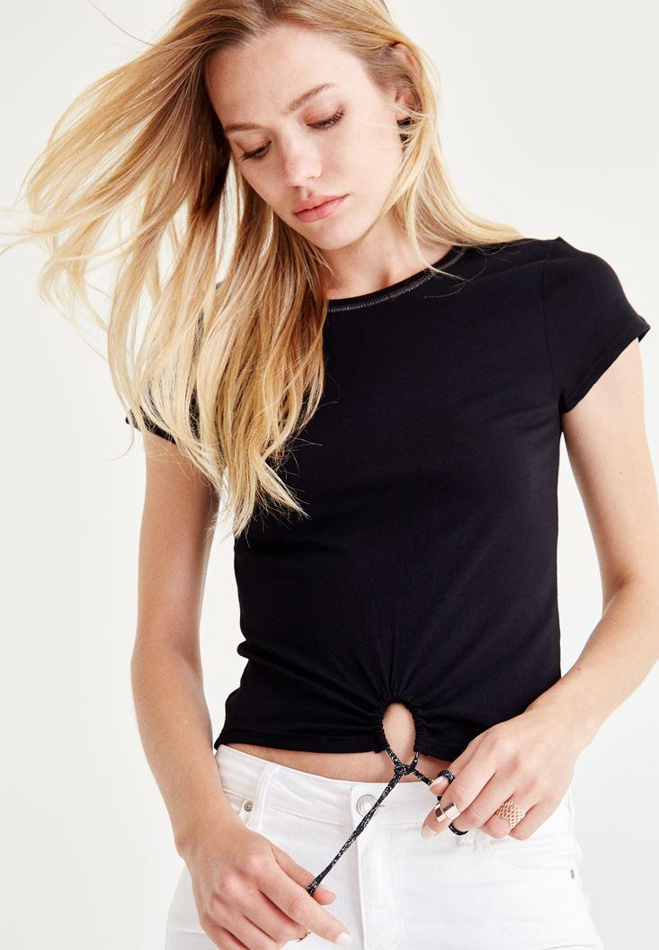 Bayan Siyah Bağlamalı Tişört
