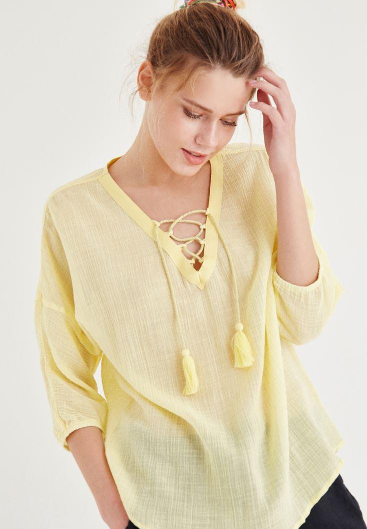 Bayan Sarı Yakası İp Detaylı Bluz