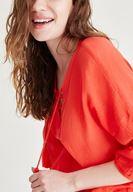 Bayan Kırmızı Yakası İp Detaylı Bluz