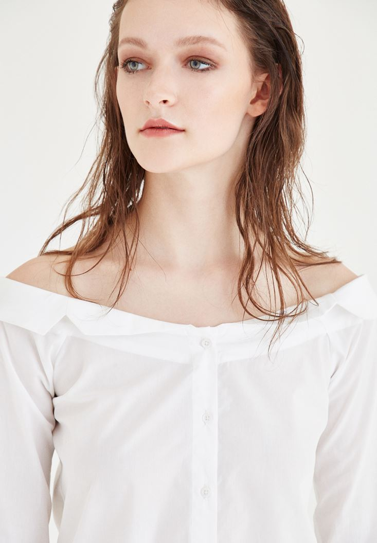 Beyaz Kayık Yaka Gömlek