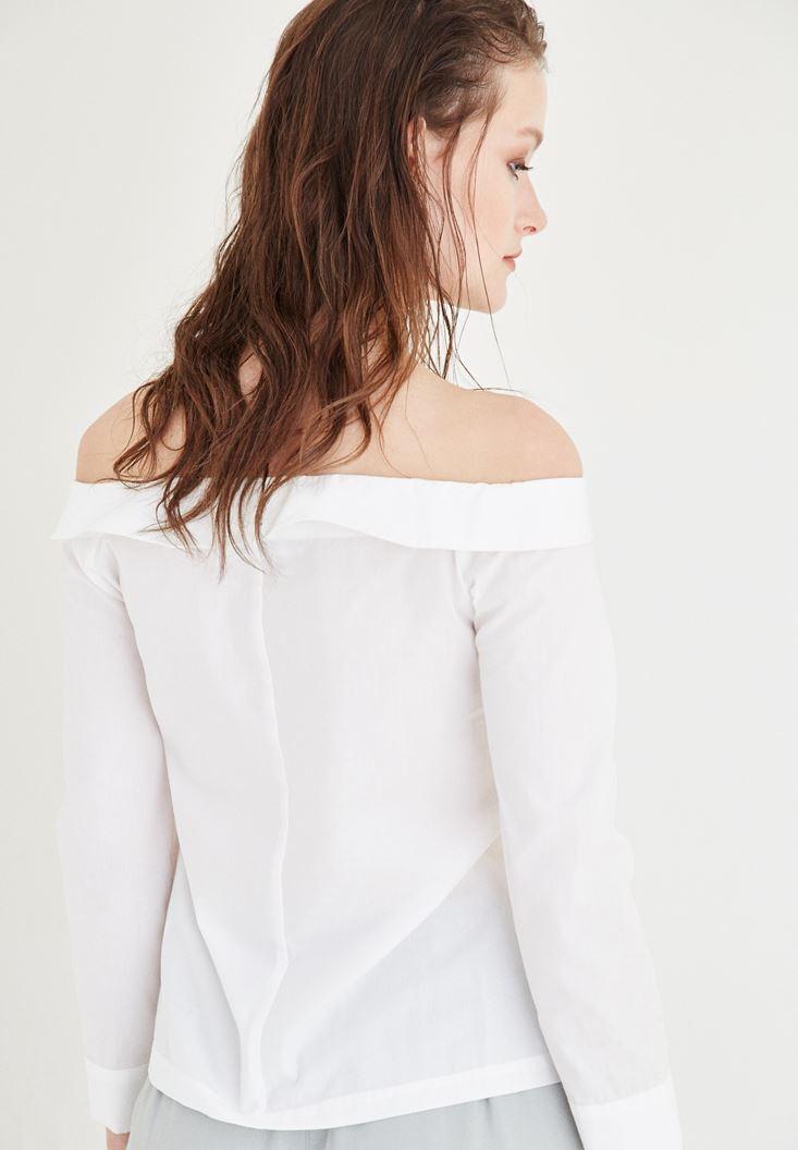 Bayan Beyaz Kayık Yaka Gömlek