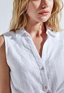 Bayan Beyaz Kolsuz Gömlek