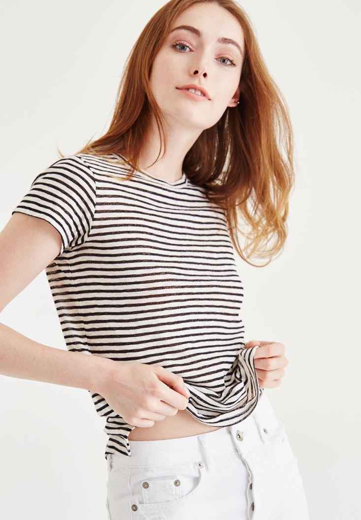 Çok Renkli Çizgili Tişört
