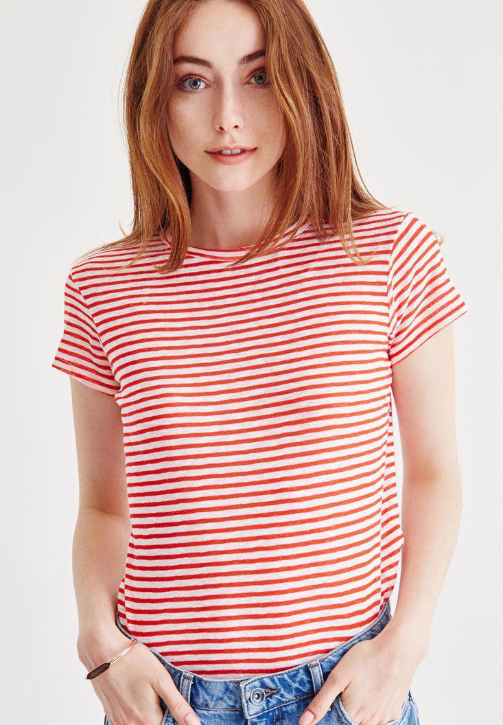 Bayan Çok Renkli Çizgili Tişört