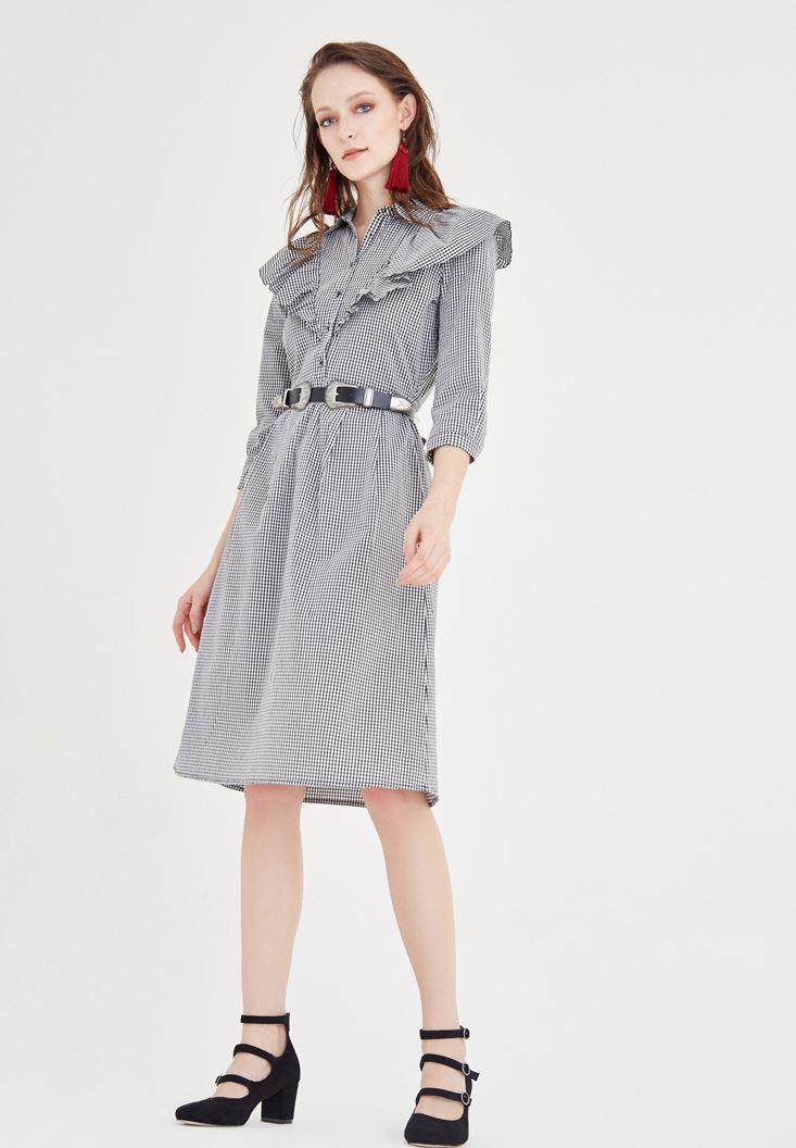 Bayan Çok Renkli Fırfırlı Elbise