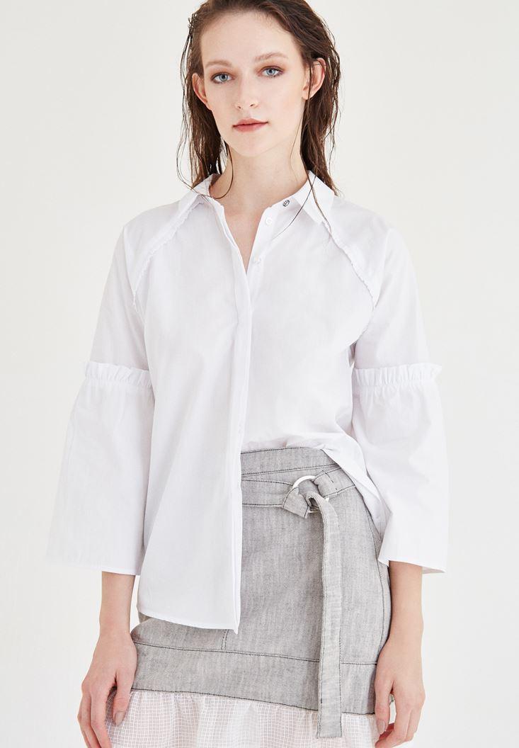 Beyaz Kolları Fırfırlı Gömlek
