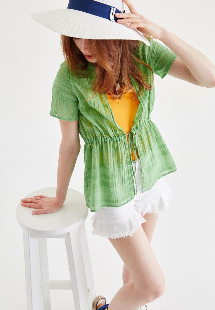 Yeşil Yarım Kollu Kimono