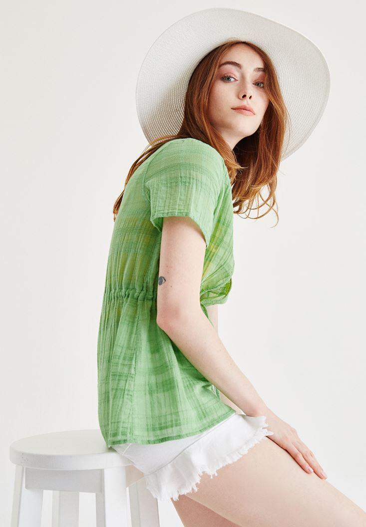 Bayan Yeşil Yarım Kollu Kimono