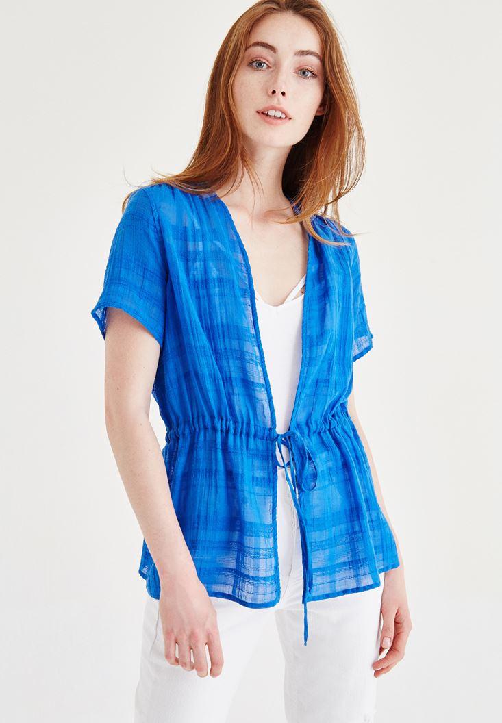Mavi Yarım Kollu Kimono