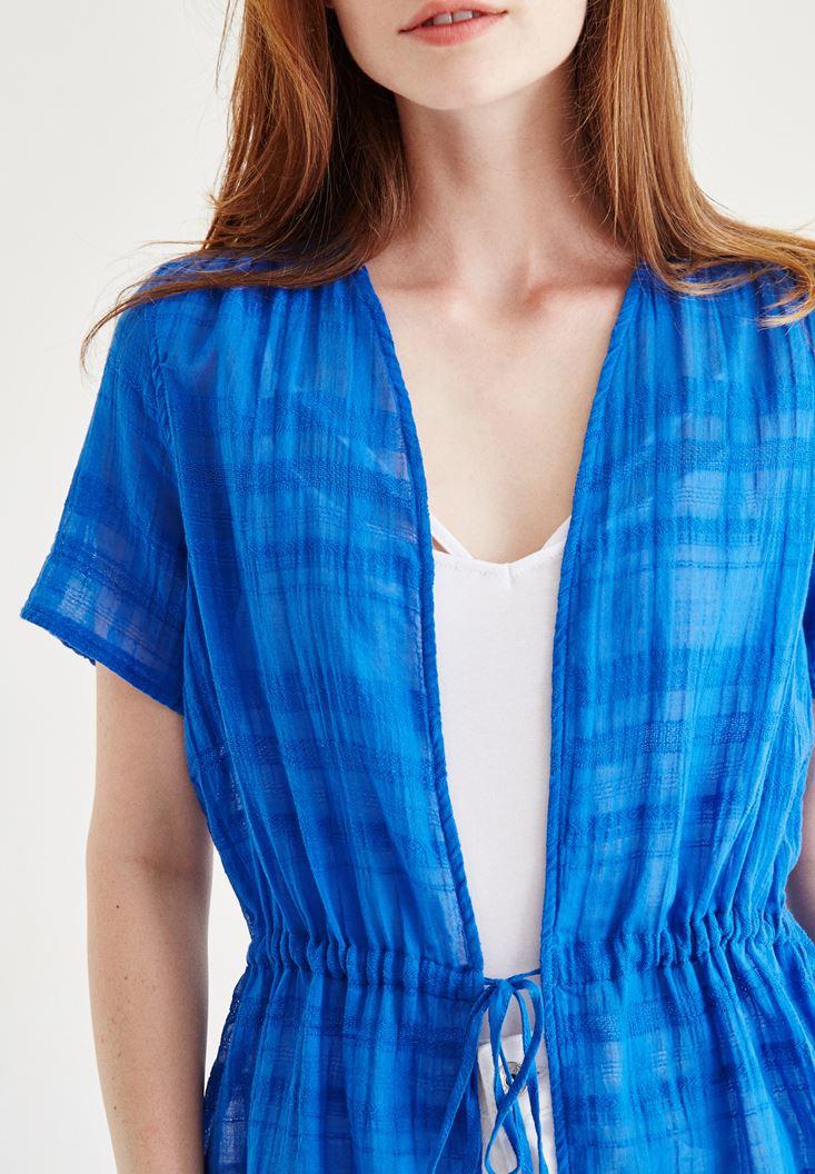 Bayan Mavi Yarım Kollu Kimono