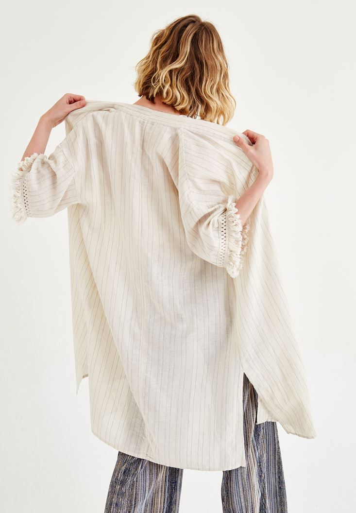 Bayan Krem Püskül Detaylı Kimono