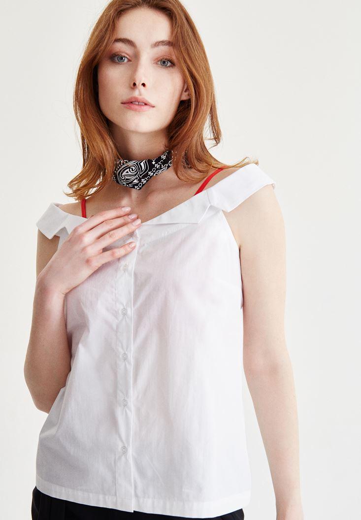 Bayan Beyaz Omuzları Açık Pamuk Gömlek