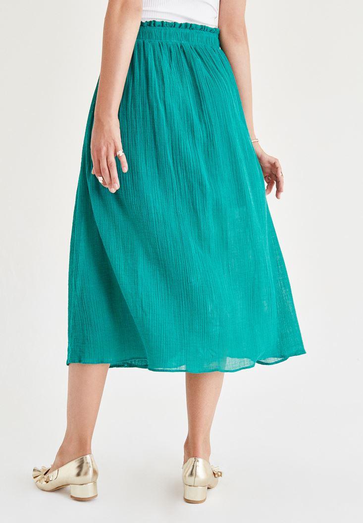 Bayan Yeşil Kemer Detaylı Etek