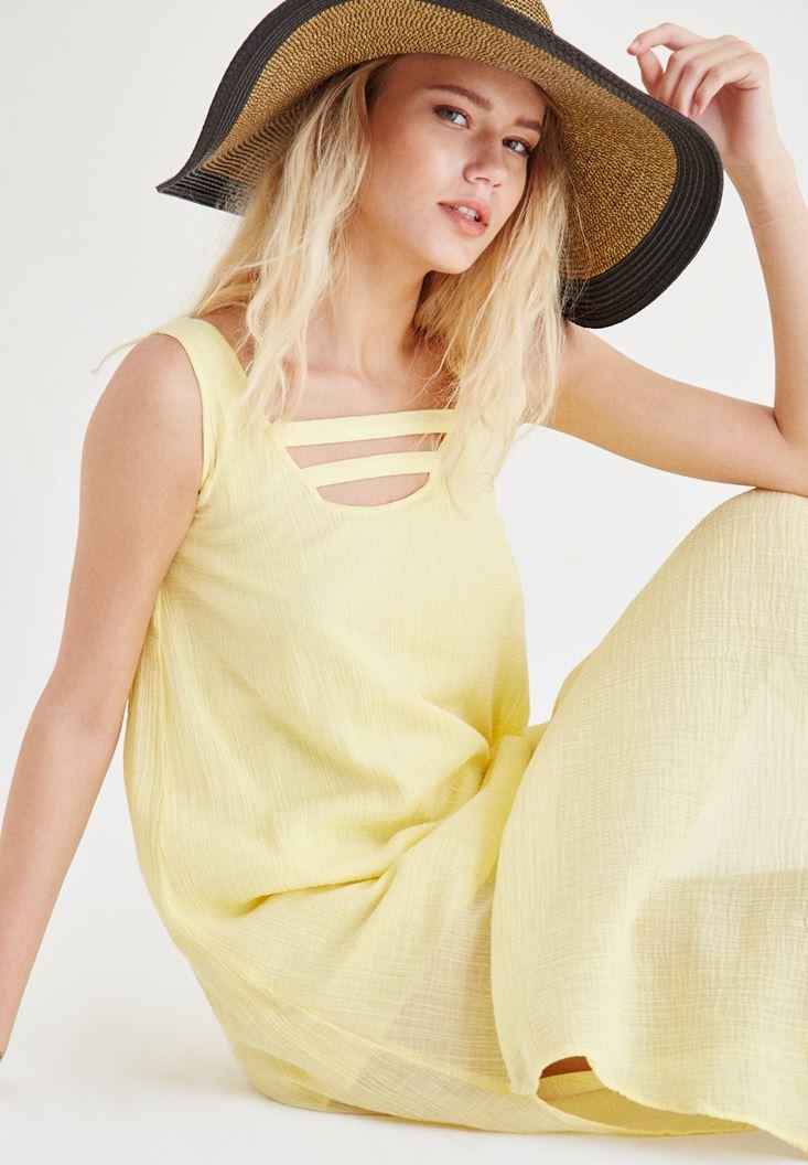 Sarı Yaka Detaylı Keten Elbise