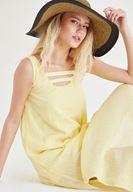 Bayan Sarı Yaka Detaylı Keten Elbise