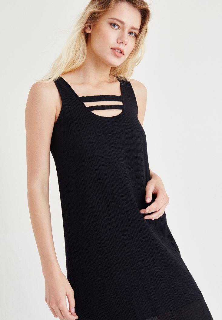 Bayan Siyah Yaka Detaylı Keten Elbise
