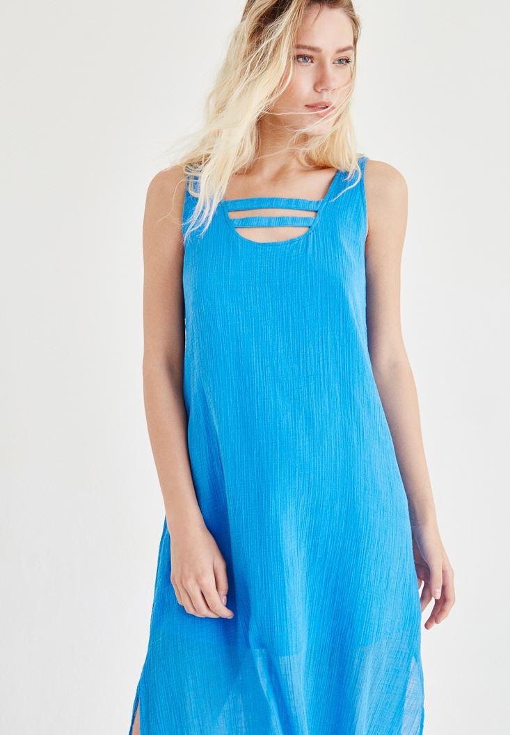 Bayan Mavi Yaka Detaylı Keten Elbise