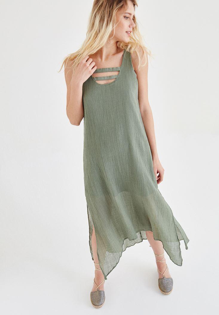 Bayan Yeşil Yaka Detaylı Keten Elbise