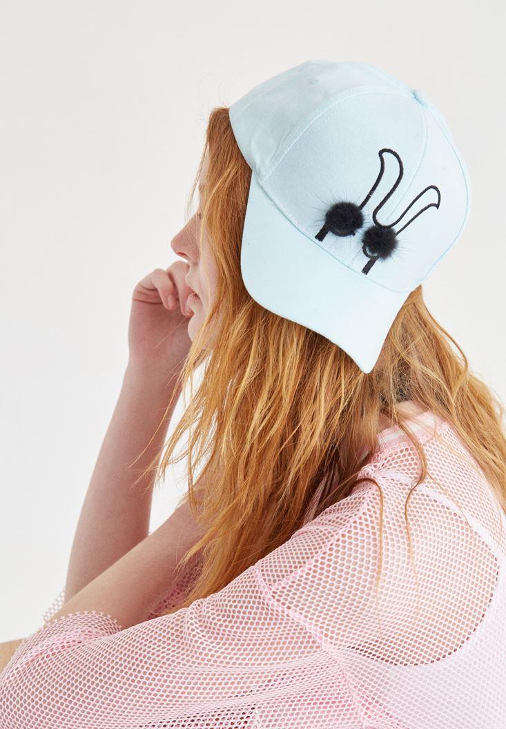Mavi Ponpon Detaylı Şapka