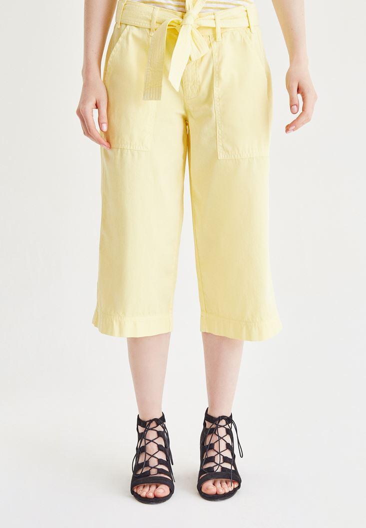 Bayan Sarı Yüksel Bel Bol Pantolon