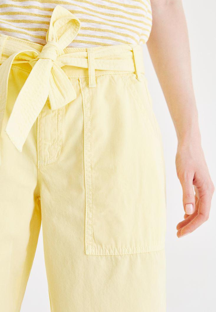 Bayan Sarı Yüksek Bel Bol Pantolon