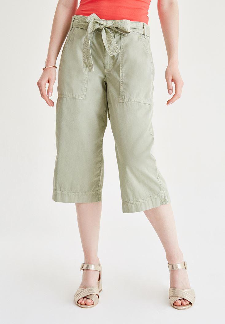 Bayan Yeşil Yüksel Bel Bol Pantolon