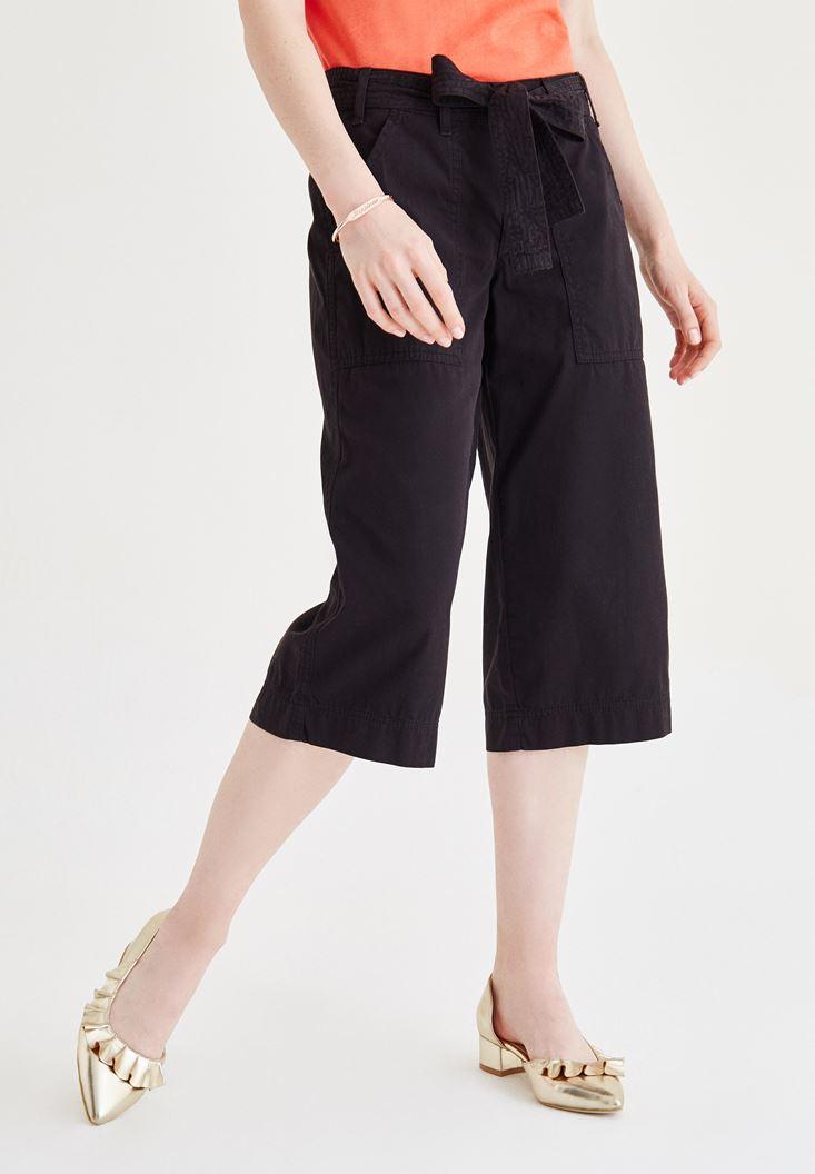 Siyah Yüksel Bel Bol Pantolon