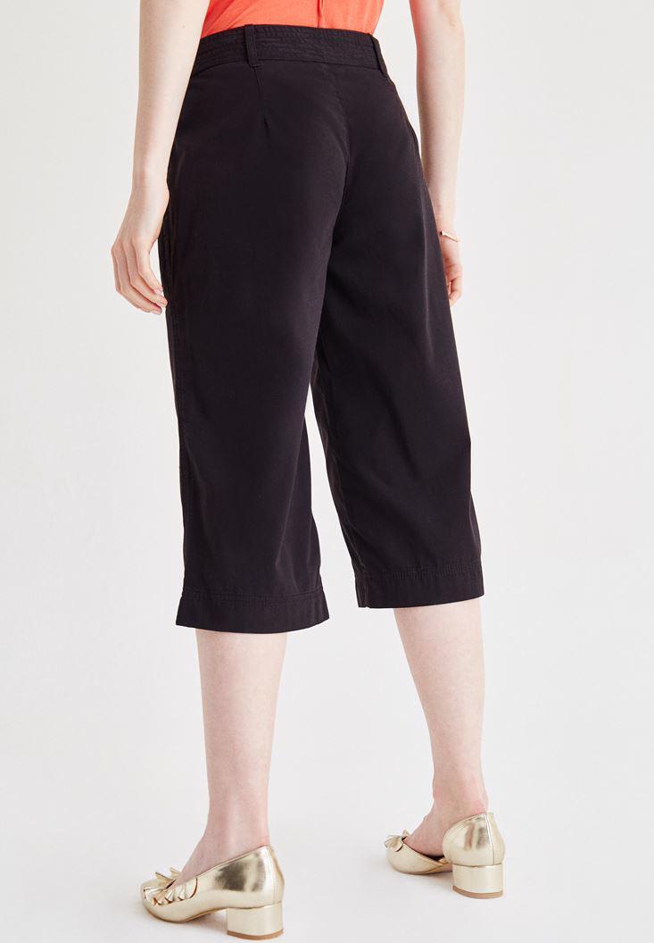 Bayan Siyah Yüksek Bel Bol Pantolon