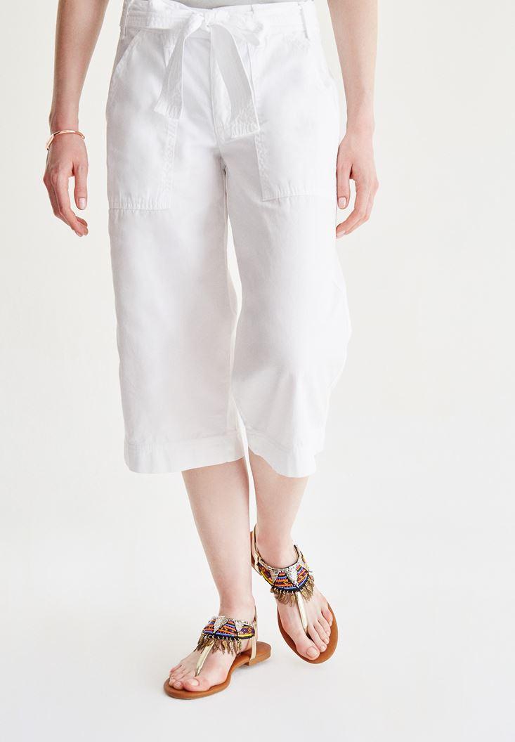 Beyaz Yüksel Bel Bol Pantolon