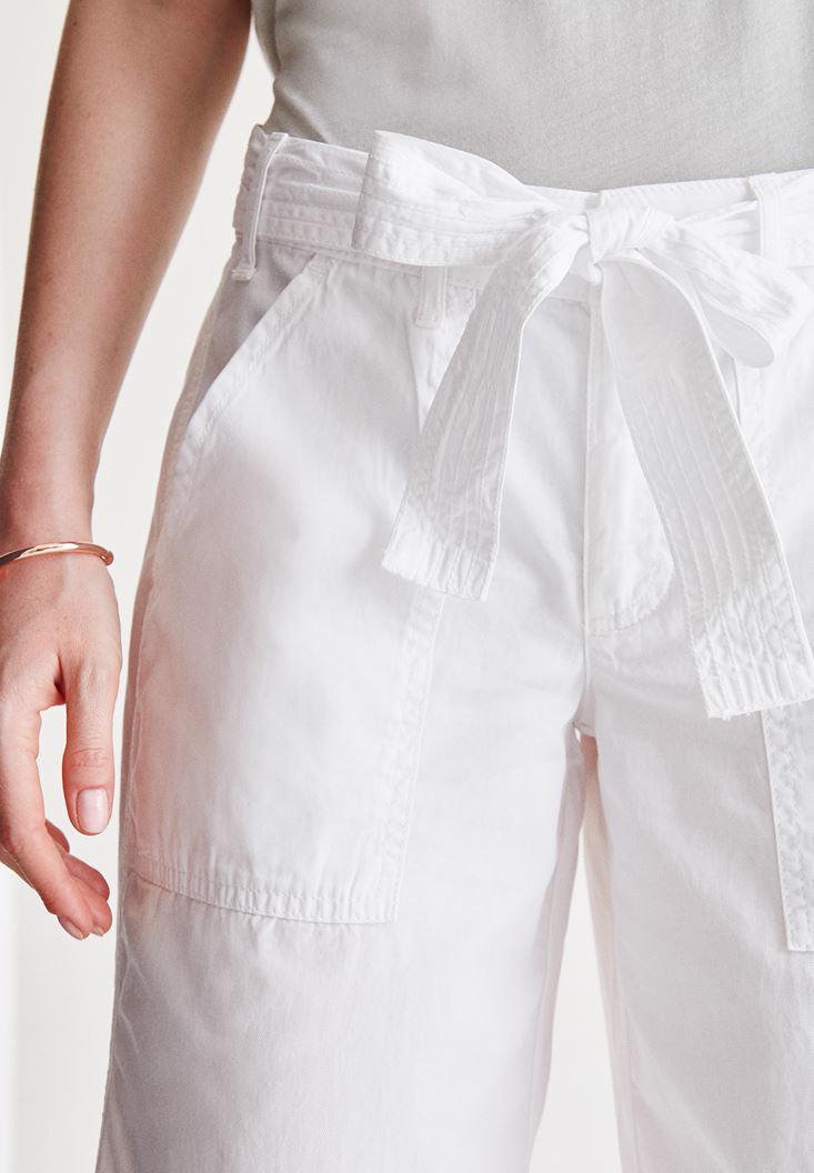 Bayan Beyaz Yüksek Bel Bol Pantolon