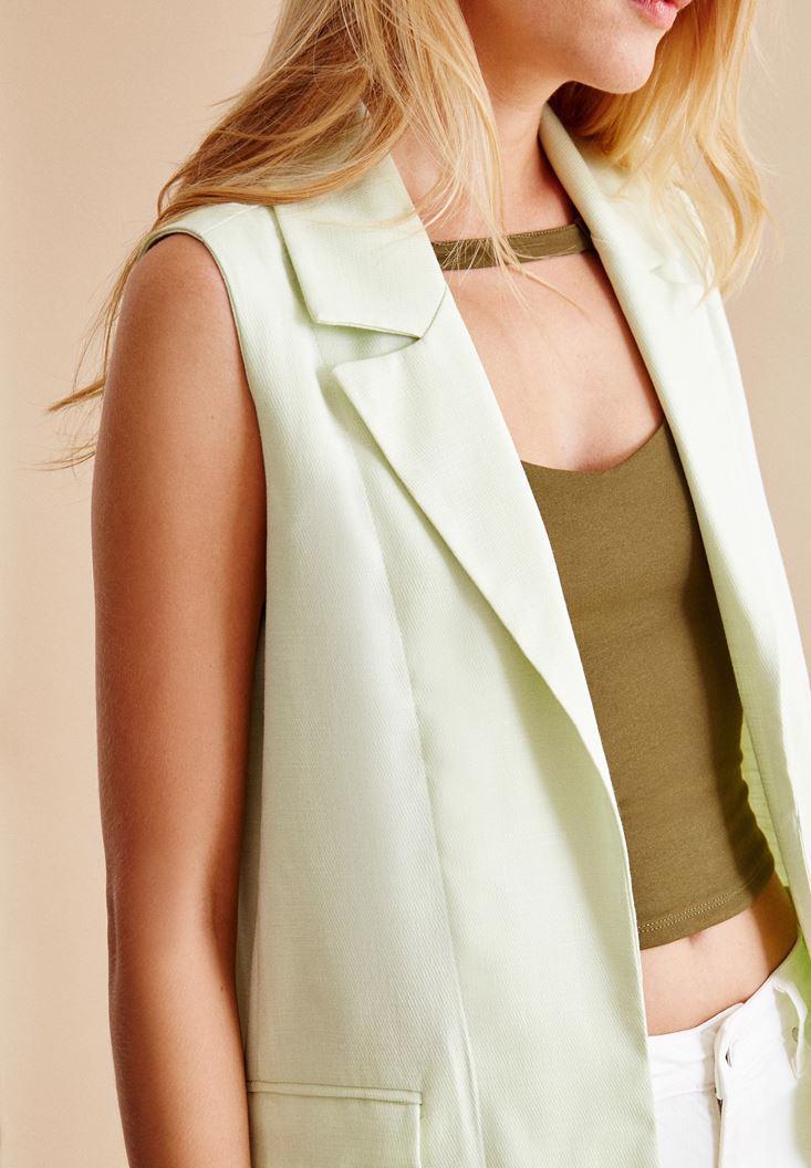 Bayan Yeşil Uzun Yelek