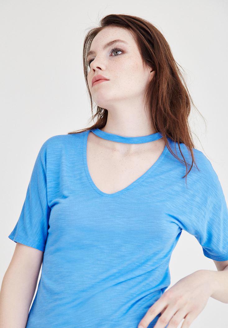 Bayan Mavi Yaka Detaylı Kısa Kollu Tişört