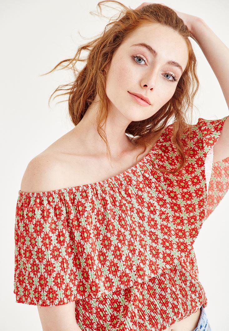 Çok Renkli Düşük Omuzlu Bluz