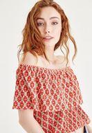 Bayan Çok Renkli Düşük Omuzlu Bluz