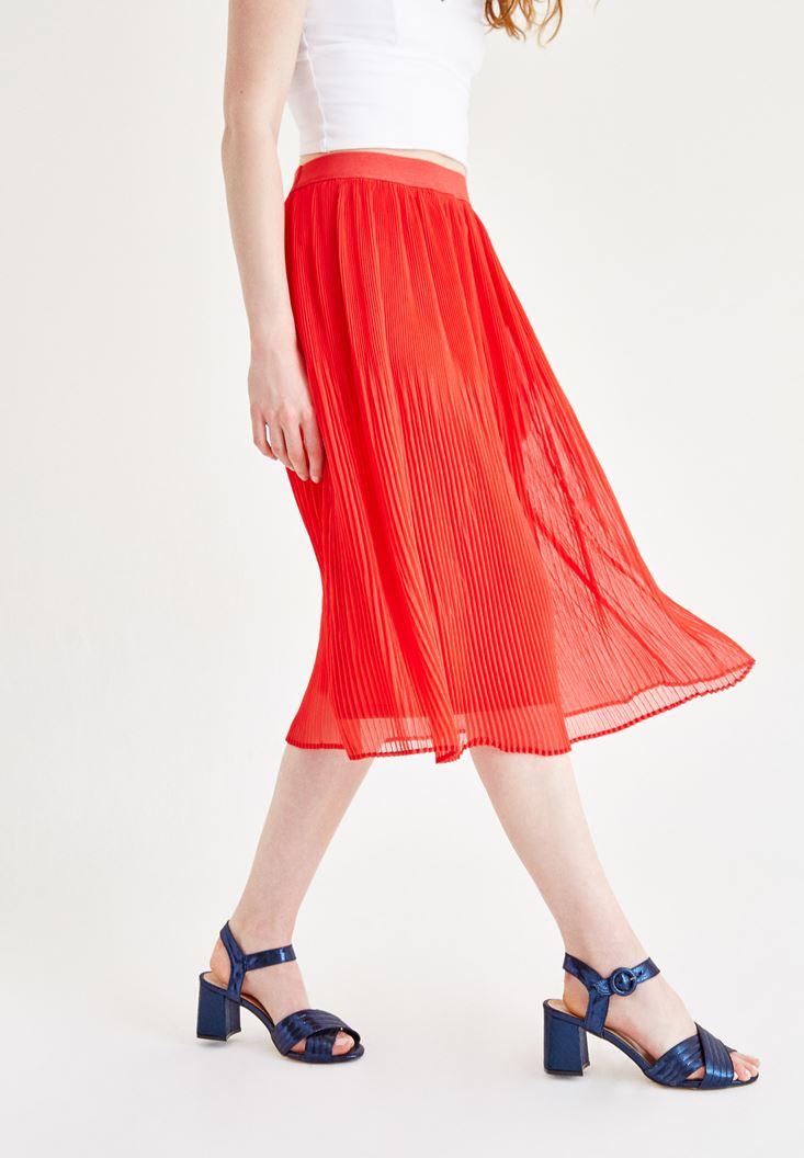 Bayan Kırmızı Pilili Etek