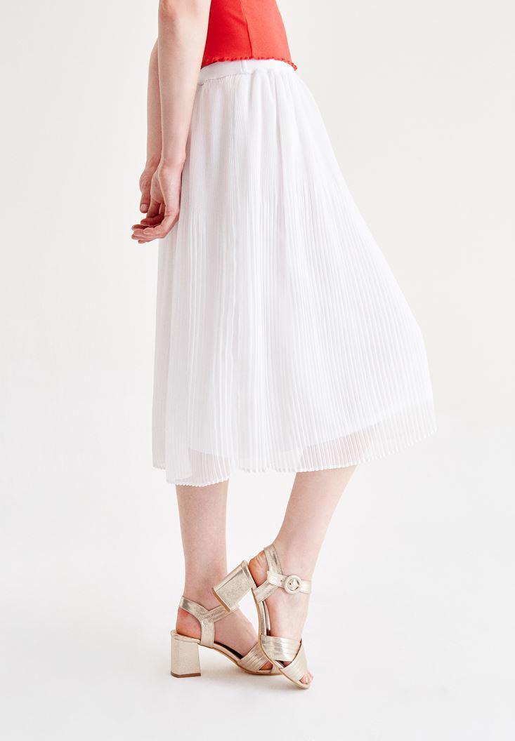 Bayan Beyaz Pilili Etek