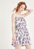Bayan Çok Renkli Straplez Elbise